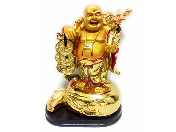 "Golden Laughing Buddha Statue on Black Stand - 7""H"