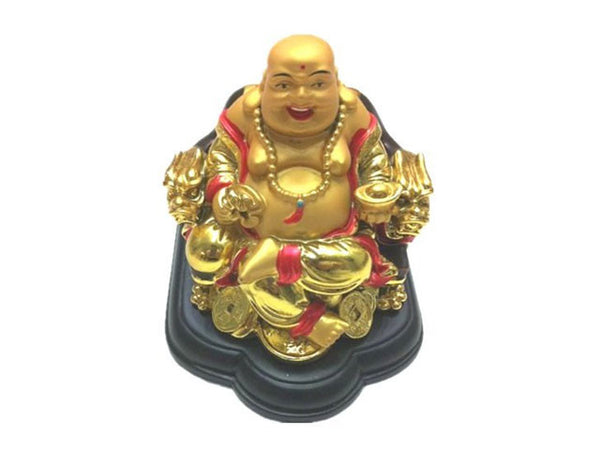 Laughing Buddha on Dragon Chair (3 inches)