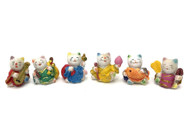 "Colorful Mini Lucky Cat -1.25"" (Set of 6)"
