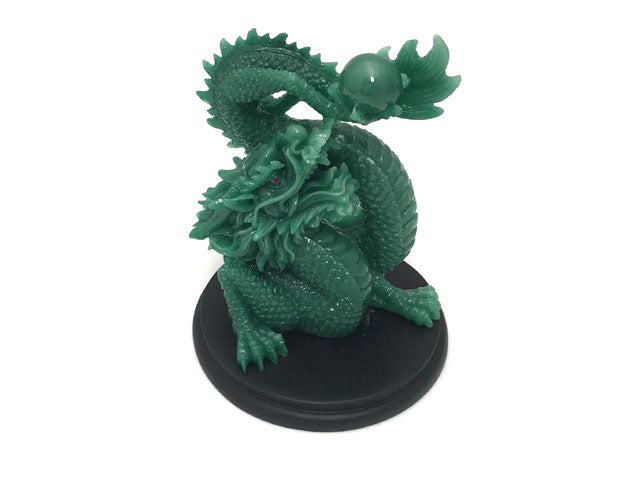Dragon Playing with Pearl on Wood Stand - Jade Green