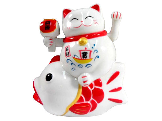 Battery Powered Hand Motion Lucky Cat on Koi Fish