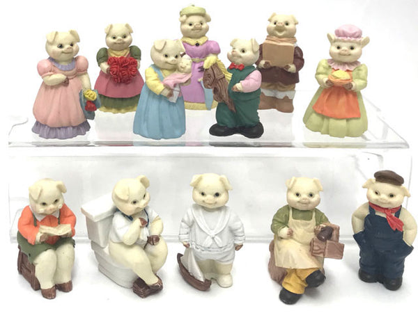 Colorful Clay Pig Figurine Characters (12 pcs Set)