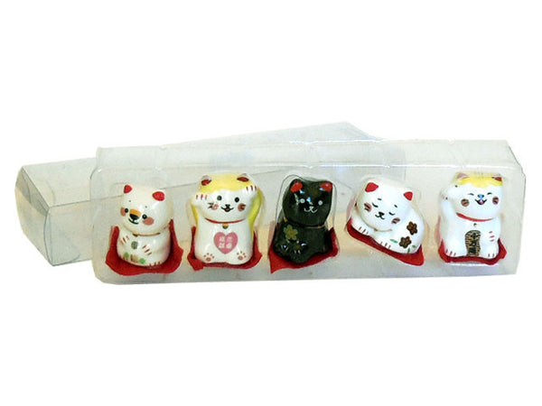Mini Ceramic Lucky Cat (Set of 5)