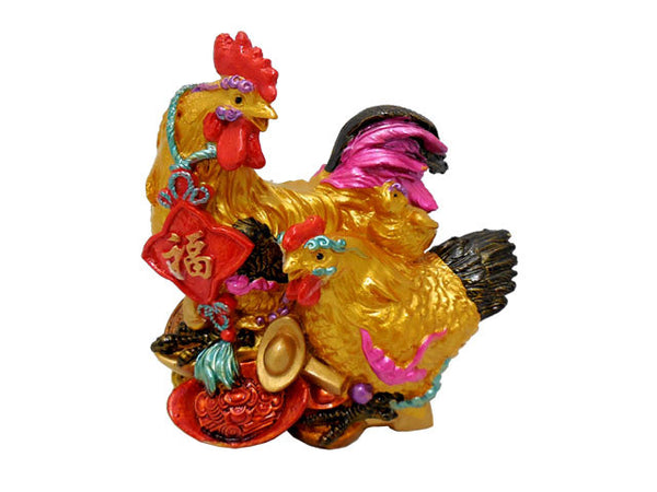 Fortune Rooster Family Figurine