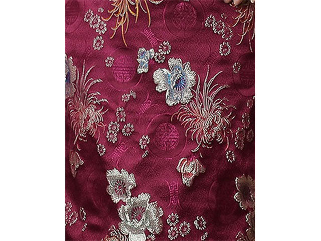 Silk / Rayon Chrysanthemum Brocade Fabric - Burgundy