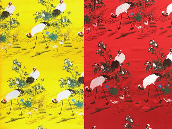 Cranes on Garden Field Design Brocade Fabric