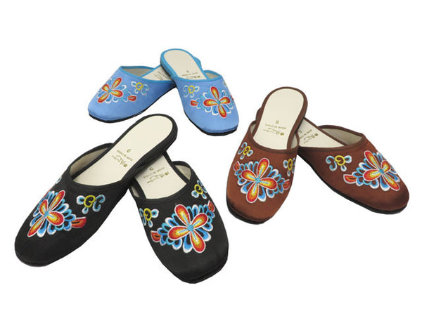 Cross Petal Embroidery Satin Slippers