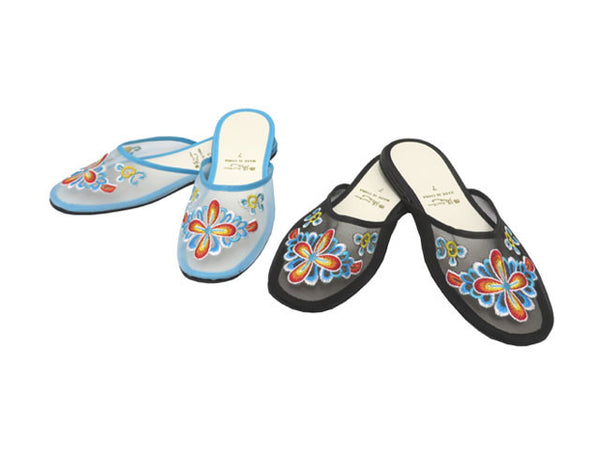 Cross Petal Embroidery Mesh Slippers