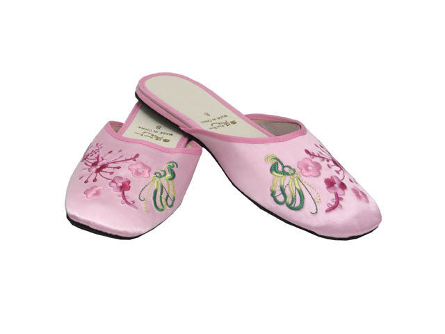 Plum Blossom Embroidery Satin Slippers