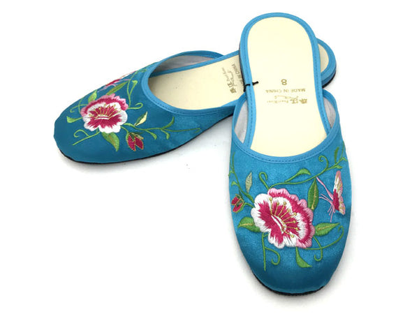 Butterfly Peony Embroidery Satin Slippers