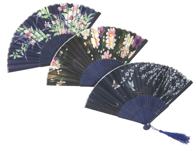 Printed Fabric Folding Fan with Tassel