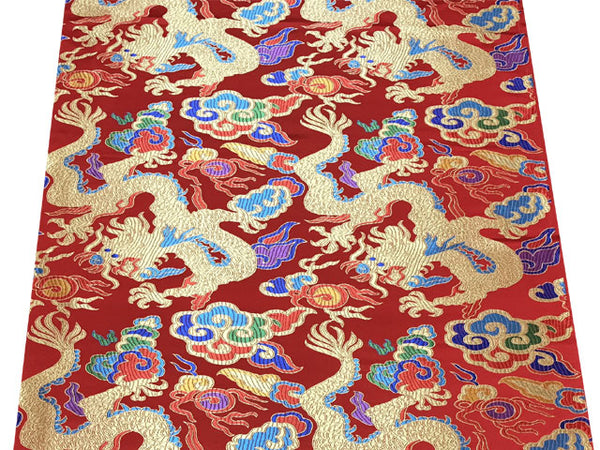 Golden Dragon on Colorful Cloud Brocade Fabric - Red