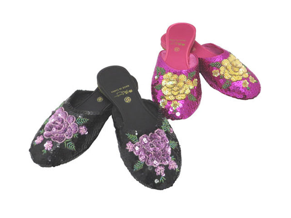 Hydrangea Sequined Slippers