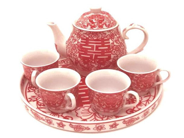 Double Happiness Design Ceramic Tea Set w. Tray