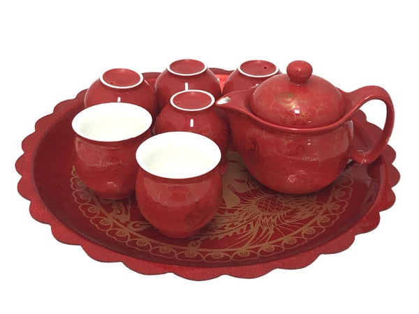 Deep red Double Happiness and Dragon Phoenix Design Ceramic Tea Set with Tray
