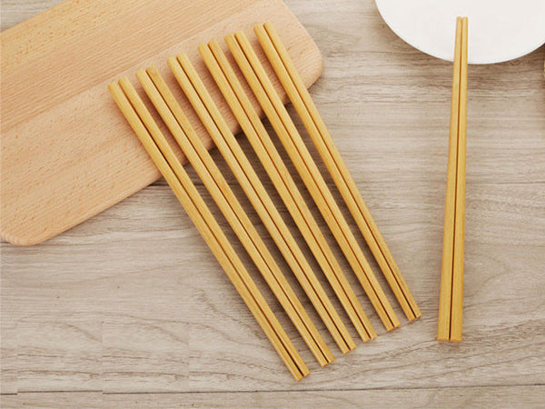 Natural Tone Wooden Chopsticks - 10 pairs/pk
