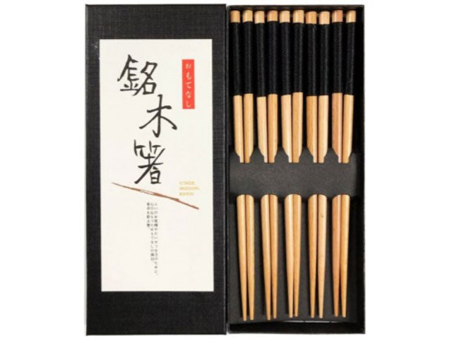 Threaded Handle Design Wooden Chopsticks Set (5 pairs)