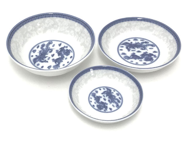 Dragon Phoenix Design Blue on White Sauce Dish / Deep Plate