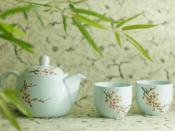 Lt. Blue Plum Blossom Design Ceramic Teapot / Teacup