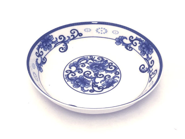 Blue on White Peony Design Deep Plate