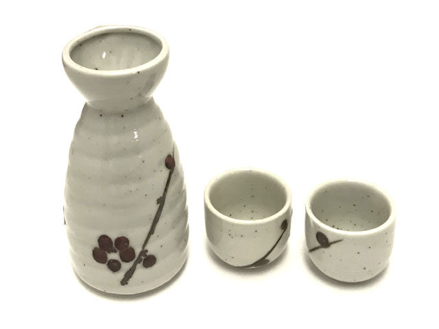 Blossom Design Sake Bottle / Cup - Off White