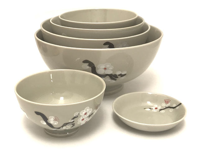 White Blossom Design Ceramic Collection - Lt. Brown
