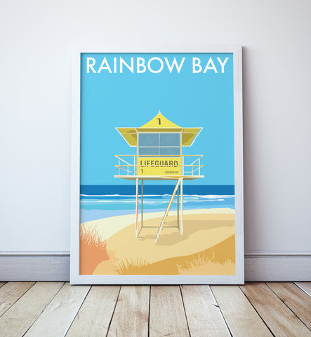 Rainbow Bay Beach Lifeguard Tower Print