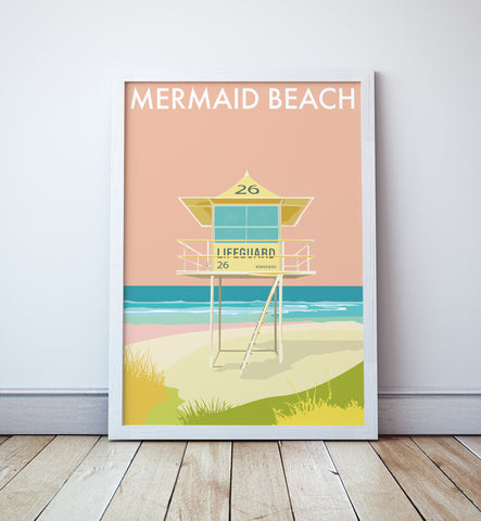 Mermaid Beach Lifeguard Tower Print