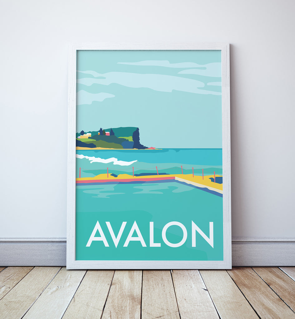 Avalon Beach Travel Print