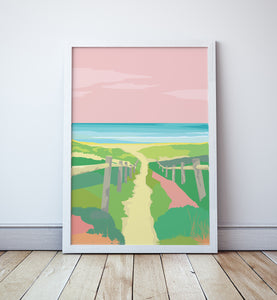 Beach Boardwalk Sunset Print
