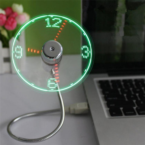 High Quality Mini USB Powered LED Cooling Flashing Real Time Display Function Clock Fan