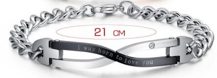 "Lovers Men Woman Bracelets Lettering ""I was born to love you"""