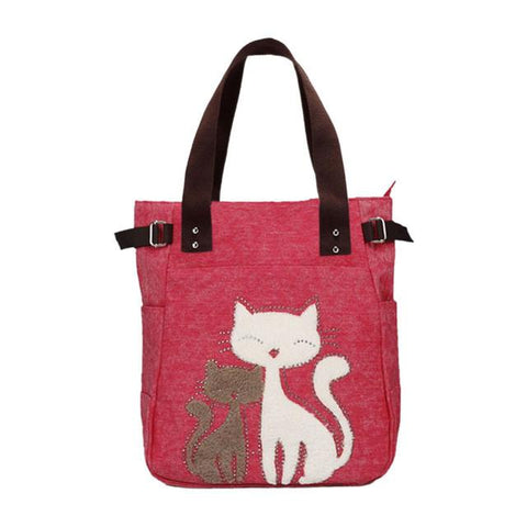 Handbag Canvas Bag With Cute Cat Appliques