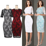 Summer woman clothes round neck five sleeves flowers lace pencil dress