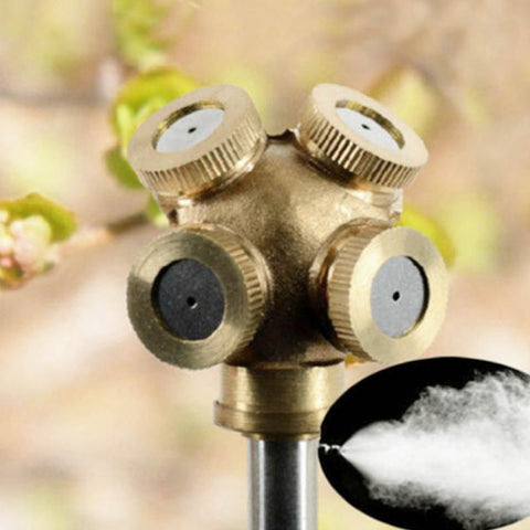 New 4 Hole Brass Spray Misting Nozzle Garden Sprinklers Fitting Hose Water Connector High Quality