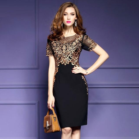 Women Clothing Embroidery Vintage party dresses