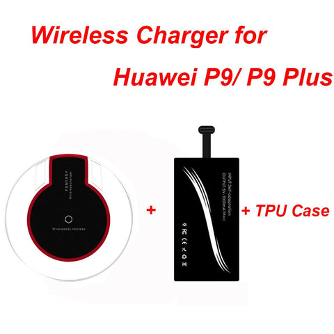 Universal Type-C Qi Wireless Charging Receiver + Wireles Charger Pad Transmitter + Ultra-thin TPU Case for Huawei P9 P9 Plus