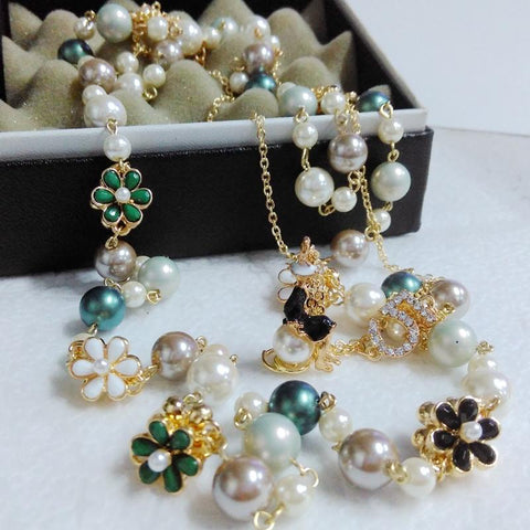 Bohemia double Multi-layer Flower Pearl Necklaces