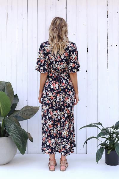 Folklore Maxi Dress - Navy Floral