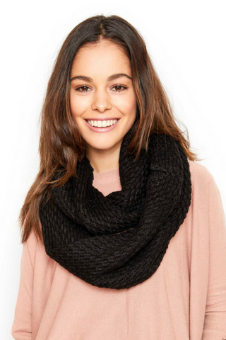 Villa Knit Snood Scarf - Black