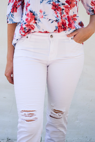 Bowie Ripped Jeans - White
