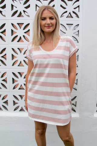 Cooper Striped Dress - Blush