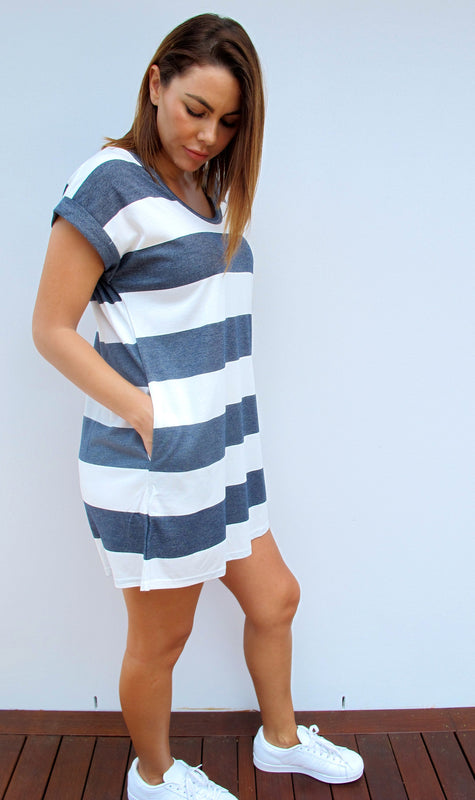 LA Striped Dress - Navy