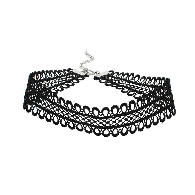 Lace Scallop Choker - Black