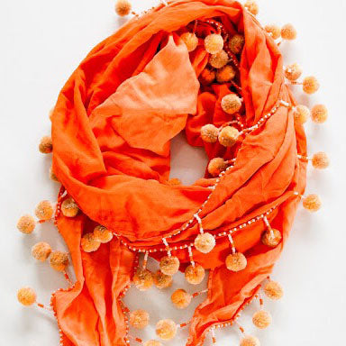 Yakap Shawl and Scarf in Kahel (Orange)