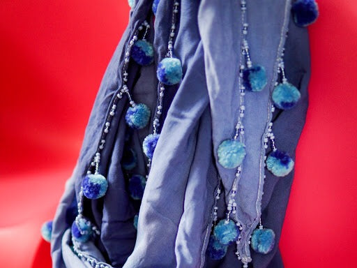 Yakap Shawl and Scarf in Bughaw (Blue)