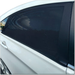 Car Window Shade. Universal Fit Nylon Mesh Rear Seat Sunshade. 2 Black Sun Shades with Storage Bag