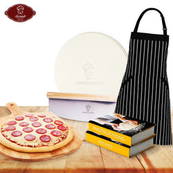 "Homemade Pizza Bundle. Master Pizza Baking In 7 Days. Premium 16"" Pizza Stone, Bamboo Peel, Sharp Aluminium 14"" Cutter and Best Selling Apron. Bonus Oven Stone Seasoning Instructions and Recipes."