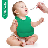 2 Pack Silicone Baby Bibs with BONUS Silicone Spoon & Recipes (Green and Yellow)
