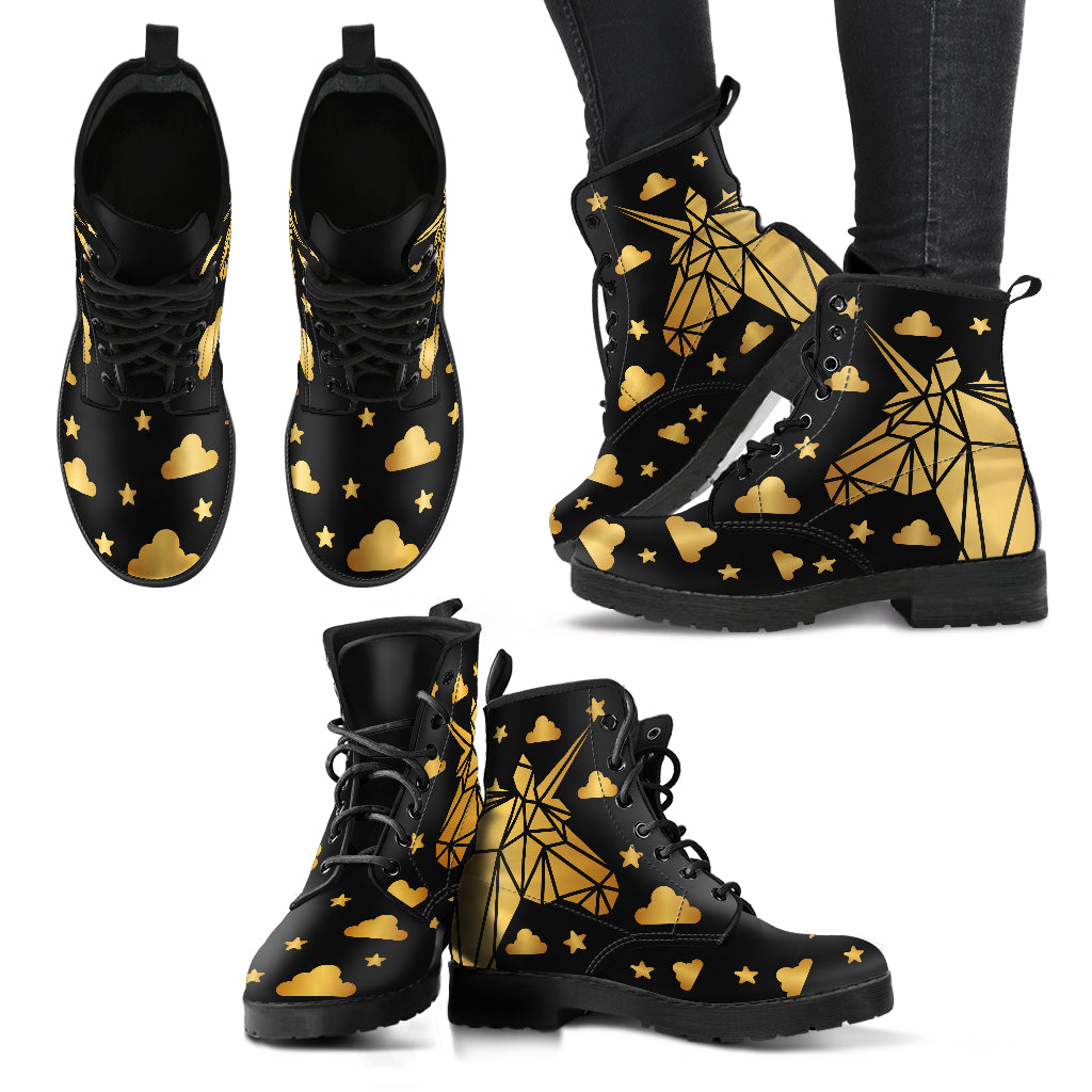 Gold Unicorn Leather Boots - Women